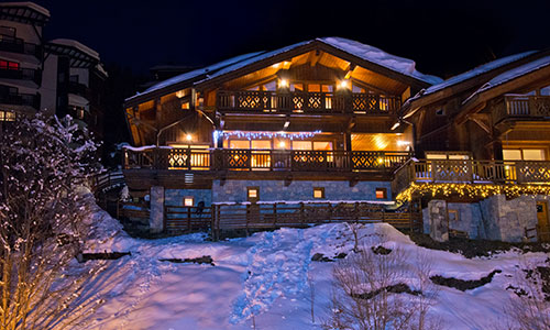 Chalet Exterior by Night